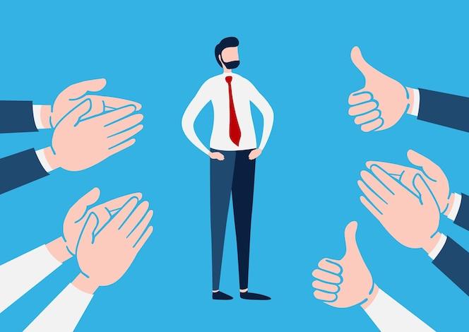 Hombre de negocios con muchas manos aplaudiendo
