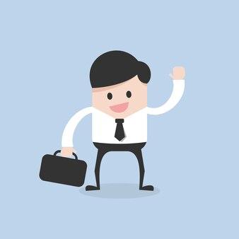 Hombre de negocios corriendo con maleta en la mano