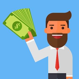 Hombre de negocios en un traje con dinero en efectivo en mano