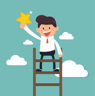 Hombre de negocios en una estrella de agarre de escalera en el cielo.