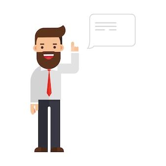 Hombre de negocios hablando con globo de discurso