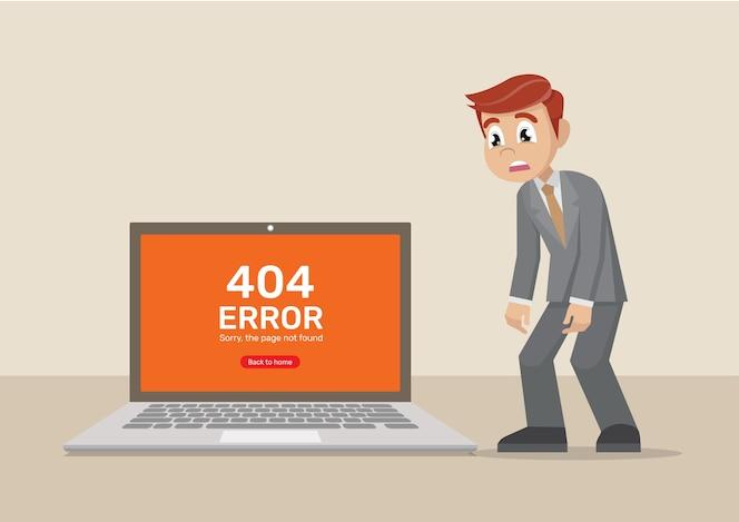 Hombre de negocios lamentablemente computadora sobre la página no encontrada.