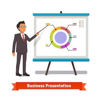 Hombre de negocios, mentor, entrega, presentación, discurso