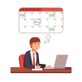 Hombre de negocios, pensamiento, planificación, proceso