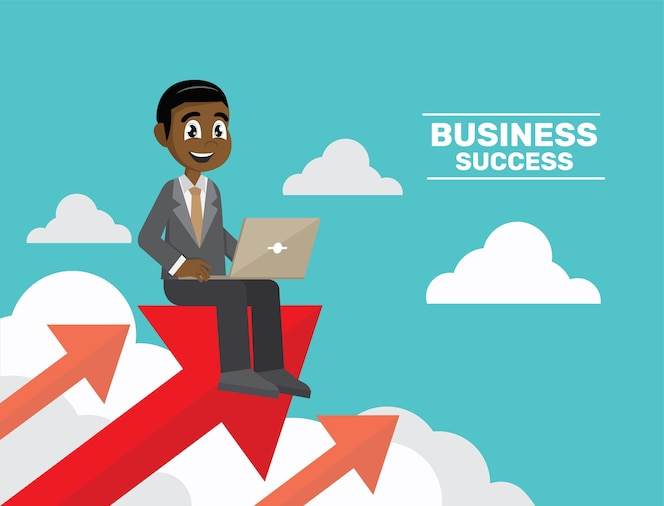 Hombre de negocios que trabaja con la computadora portátil en la flecha.
