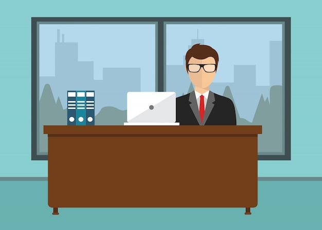 Hombre de negocios, sentado, oficina