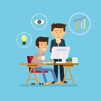 Hombre de negocios trabajando con el equipo en el proyecto de idea creativa para analizar financiera de la empresa