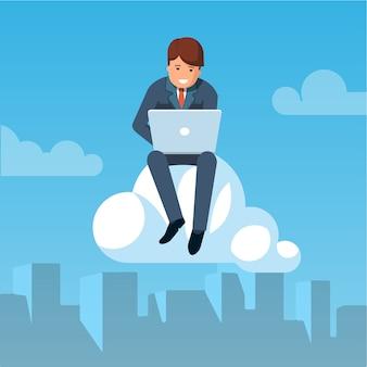 Hombre de negocios volando en el cielo y trabajando