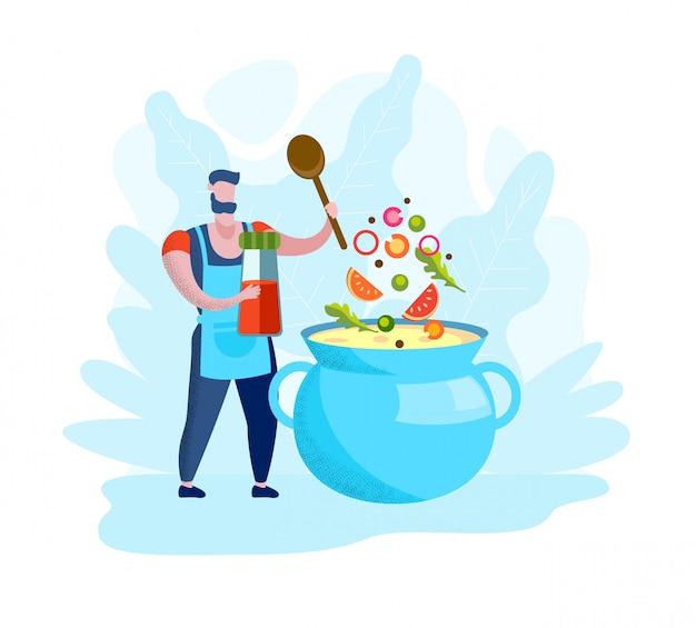 El hombre en delantal está cocinando sopa en cazuela azul.