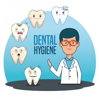 Hombre dentista con diagnóstico de medicina dental