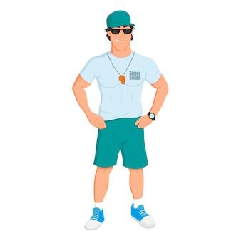 El hombre deportista. entrenador deportivo y fitness.