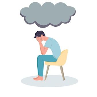 Hombre deprimido depresión y dolor de cabeza migraña se sienta en una silla nube de trueno dolor llorando