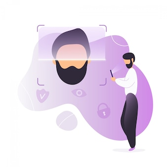 Hombre desbloquear teléfono usando reconocimiento facial