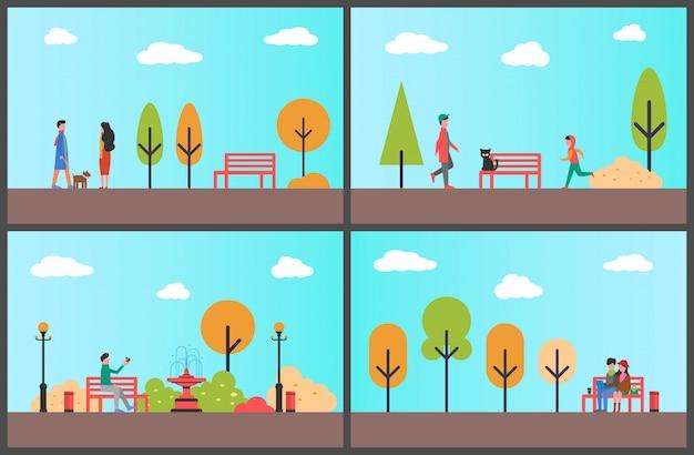 Hombre descansando en el banco del parque de otoño en conjunto de ilustración de día soleado