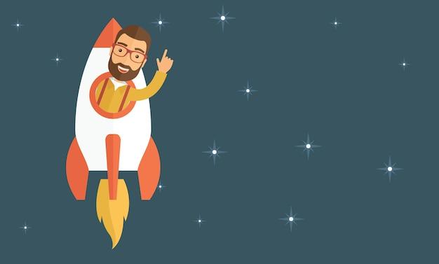 El hombre despega en cohete. concepto de inicio