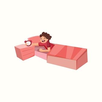 Hombre despertador en la cama. ilustración de vector de estilo plano