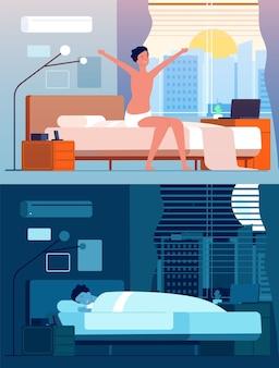 Hombre despierta. los personajes masculinos en la cama por la noche se relajan por la mañana sentados y despertando a la persona plana. persona masculina duerme en el dormitorio, despierta y duerme la ilustración
