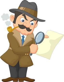 Hombre detective de dibujos animados