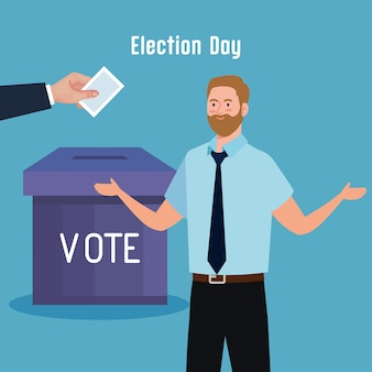 El hombre del día de las elecciones y la mano que sostienen el diseño de la caja y el papel de votación, el gobierno del presidente y el tema de la campaña
