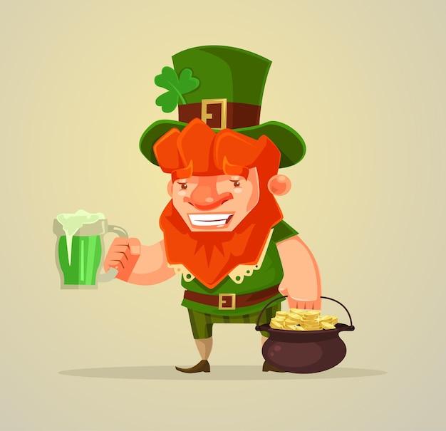 Hombre del día de san patricio con cerveza y monedas de oro ilustración de dibujos animados