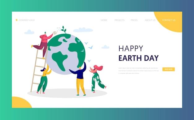 El hombre del día de la tierra salva la página de aterrizaje del medio ambiente del planeta verde.