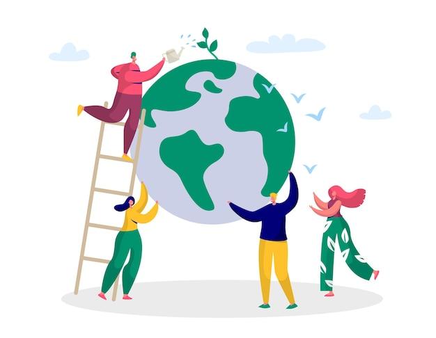 El hombre del día de la tierra salvar el medio ambiente del planeta verde.