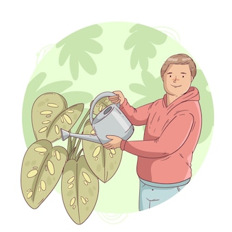 Hombre dibujado a mano cuidando plantas