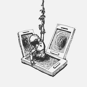 Hombre de dibujo a mano que se ahoga en la pantalla del teléfono móvil