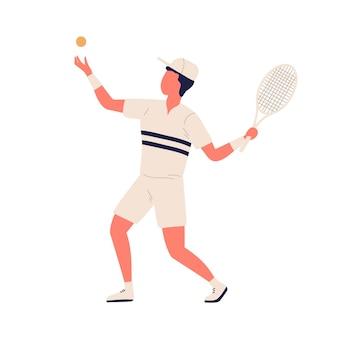 Hombre de dibujos animados activo en ropa deportiva lanzando pelota y golpeando la ilustración plana de vector de raqueta. deportista masculino colorido que juega al tenis grande aislado en el fondo blanco. chico jugador de deporte profesional.