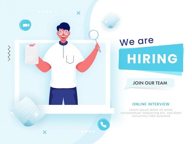 Hombre de dibujos animados buscando candidato desde la computadora portátil para que estamos contratando, únase a nuestro equipo.