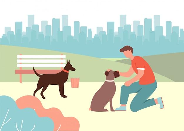 Hombre dibujos animados cuidado mascotas perro doberman boxer reunión
