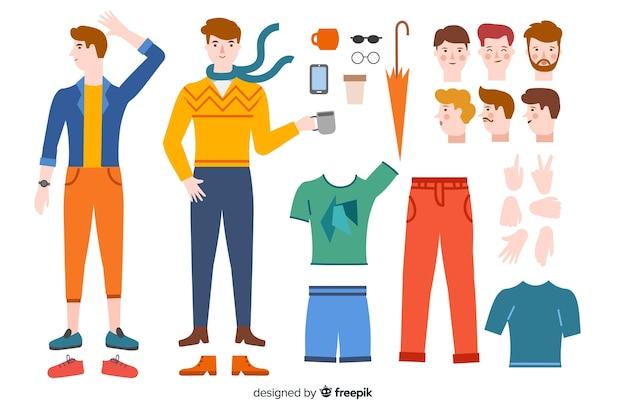 Hombre dibujos animados para diseño en movimiento