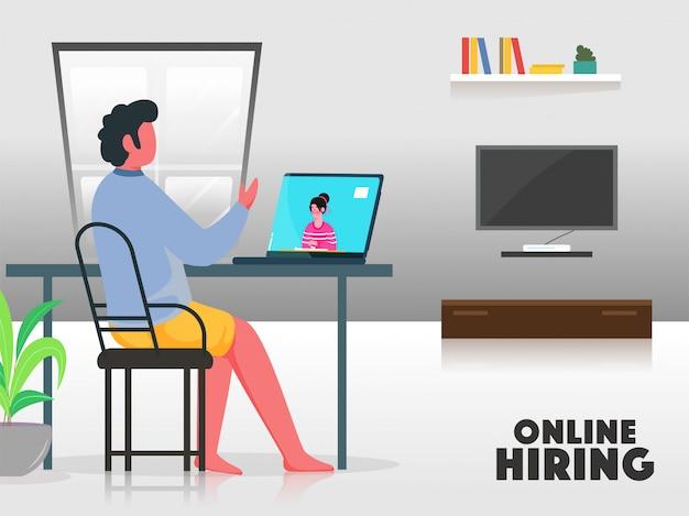 Hombre de dibujos animados entrevistar a un candidato de trabajo desde una computadora portátil para el concepto de contratación en línea.
