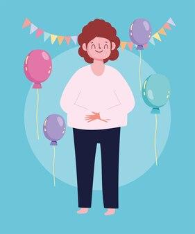 Hombre de dibujos animados feliz celebración fiesta globos banderines