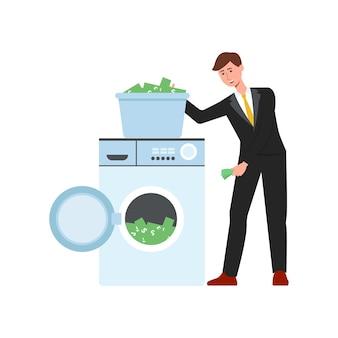 Hombre de dibujos animados lavando dinero poniendo billetes de dólar verde en la lavadora