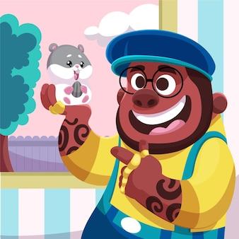 Hombre de dibujos animados con linda mascota
