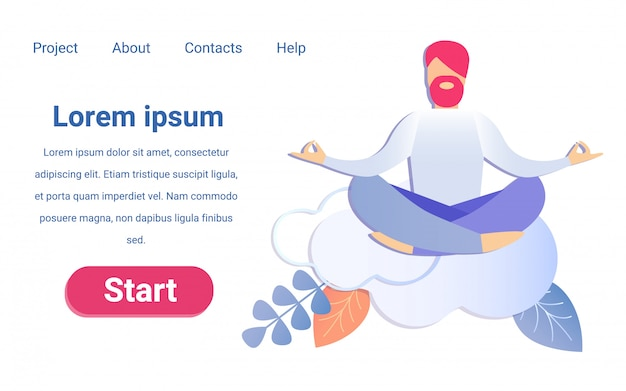 Hombre de dibujos animados meditando en las nubes yoga time break