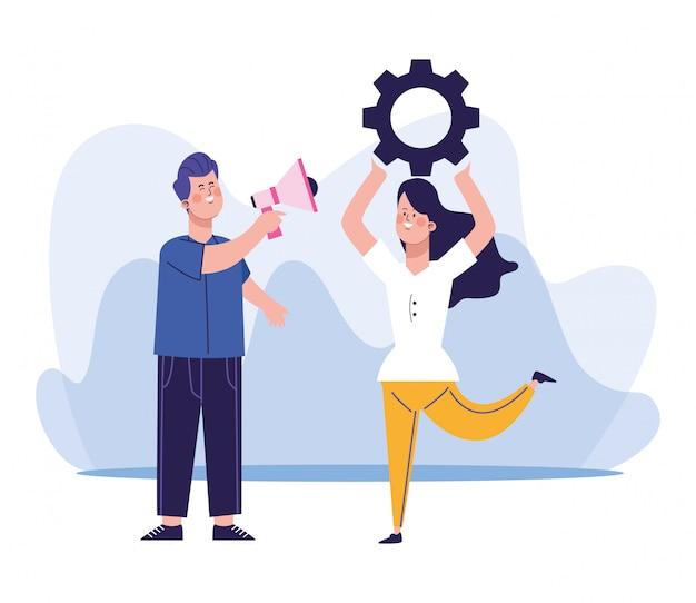 Hombre de dibujos animados con un megáfono y una mujer con rueda dentada