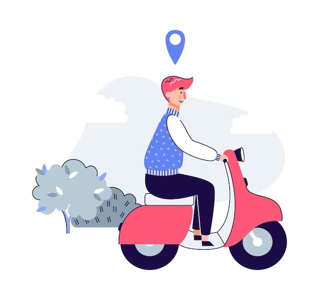 Hombre de dibujos animados montando scooter con icono de etiqueta de ubicación flotando sobre su cabeza
