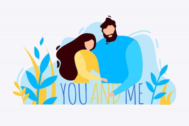 Hombre de dibujos animados mujer abrazarte a ti y a mí al aire libre
