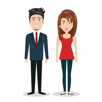 Hombre de dibujos animados y mujer de pie