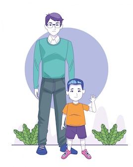 Hombre de dibujos animados y niño pequeño de pie