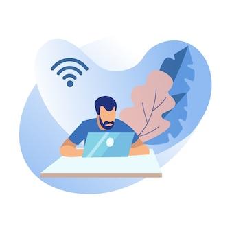 Hombre de dibujos animados con ordenador portátil, señal de wi-fi