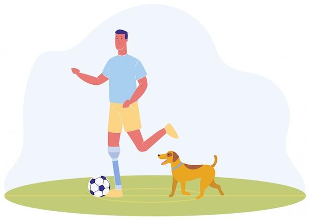 Hombre de dibujos animados con pierna protésica jugar perro de fútbol
