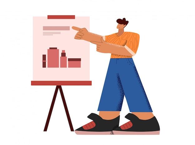 Hombre de dibujos animados que presenta datos de marketing en el tablero de la pantalla de presentación apuntando en gráficos