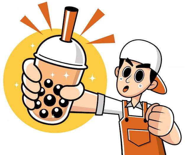 Hombre de dibujos animados que presenta té de burbujas