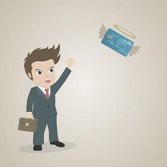 Hombre de dibujos animados que teje la mano para adiós que vuela la tarjeta de crédito.