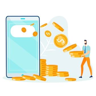 Hombre de dibujos animados recibiendo dinero de metáfora de teléfono