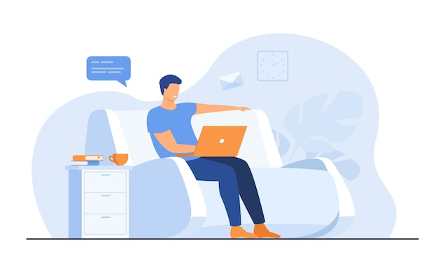 Hombre de dibujos animados sentado en casa con laptop