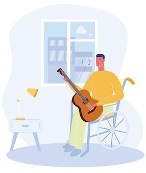 Hombre de dibujos animados sentarse silla de ruedas con guitarra play music